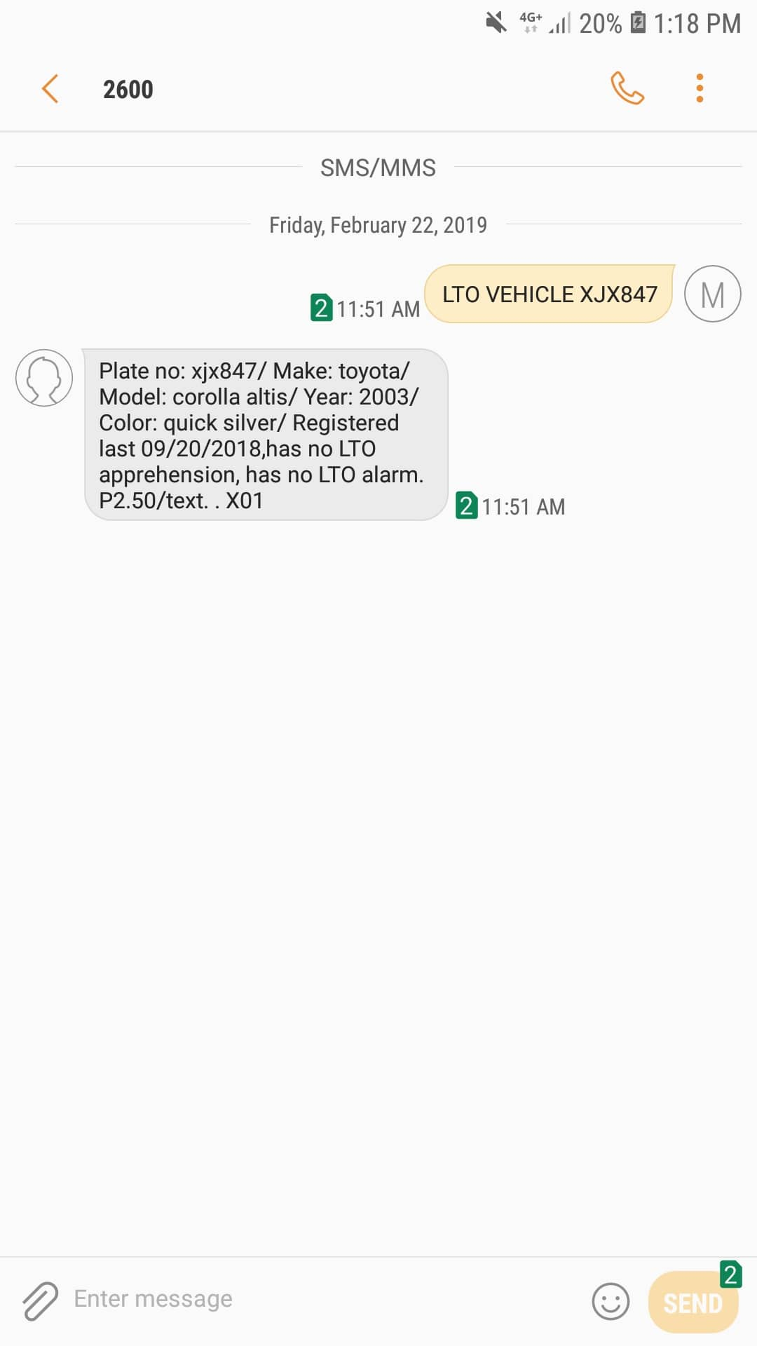 SMS Utility to verify a plate number in the PH