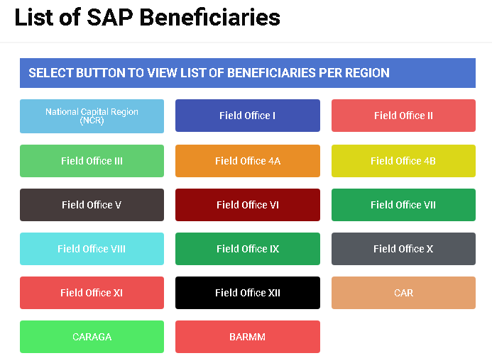 List of SAP Beneficiaries from DSWD